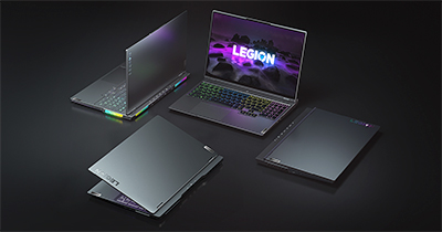Lenovo's 2021 collection of Legion gaming laptops.