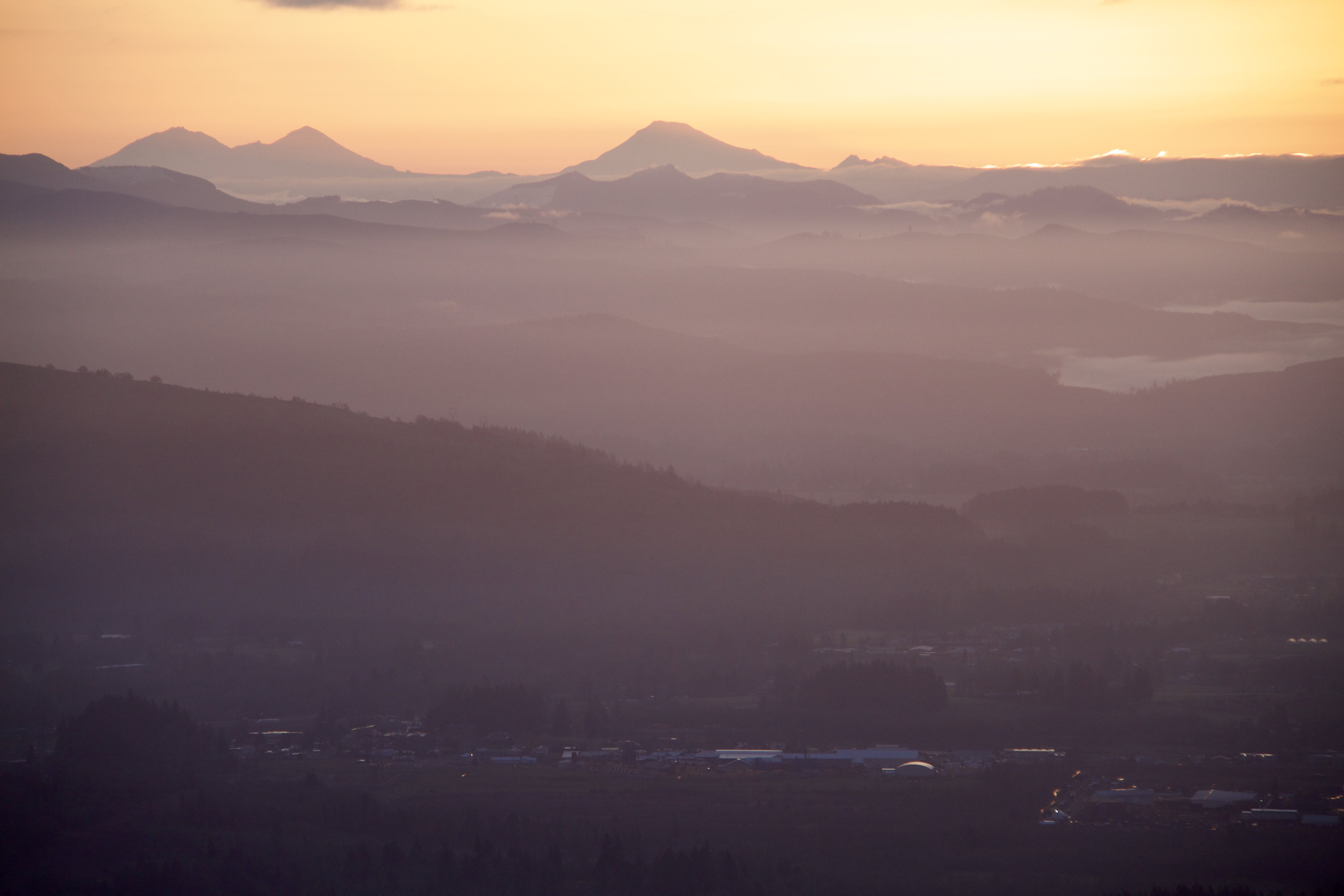 View of the 3 sisters from the west at sunrise