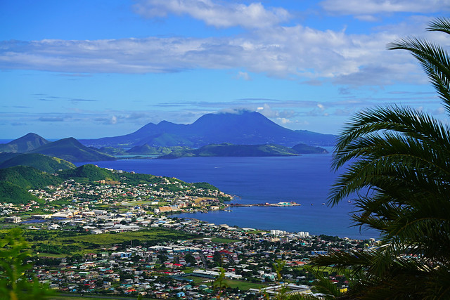 Basseterre downtown & Nevis from Monkey Hill, St Kitts