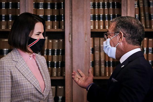 Duarte Pacheco, Presidente da União Interparlamentar e Deputado do PSD, recebeu Svetlana Tikhanovskaia, líder da oposição da Bielorrussa