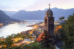 Sunset, Church of Our Lady of Remedy, Kotor, Bay of Kotor, Montenegro