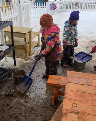 scooping mud
