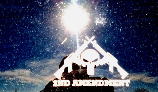 2nd amendment car sticker: the Punisher skull is a QAnon symbol