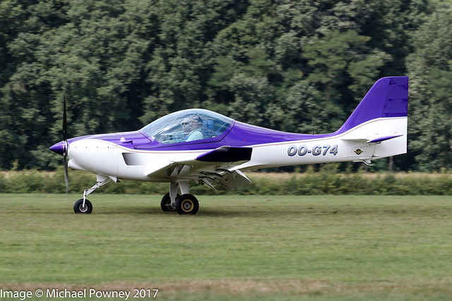 OO-G74 - 2003 build B & F Funk FK-14 Polaris, arriving at Schaffen-Diest during the the 2017 International Old Timer Fly-In