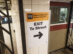EXIT To Street 34th St Penn Station Subway A C E Train Lines NYC Mar 2021