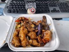 Lunch ~ Pnda Orange Chicken, Kung Pao Chicken, and eggplant tofu. Since wife is out, CHEAT DAY!!!!!!