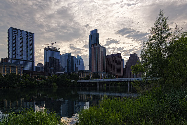 Lady Bird Lake and the Austin Skyline a Little After Sunrise