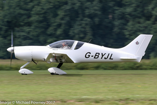 G-BYJL - 1999 build Aero Designs Pulsar III, departing from Schaffen-Diest during the the 2017 International Old Timer Fly-In