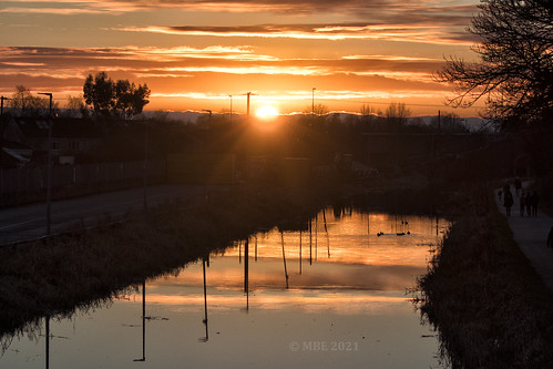 mbe maynooth 2021 kildare sunset royalcanal water reflection ireland eire canon 80d eos evening january winter