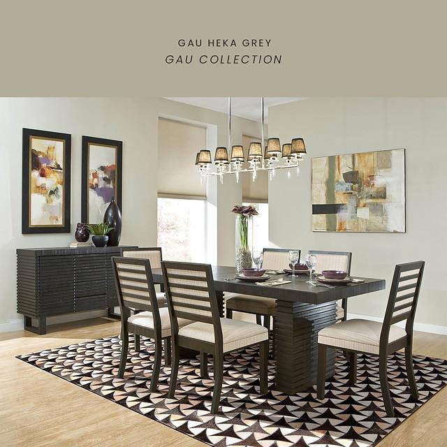 Luxury Geometric Contemporary Handmade Leather Gau Heka Grey Area Rug Carpet