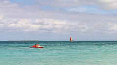 Pedal catamaran and sailboat by the Atlantic Ocean, Cuba, Varadero