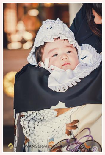 生後100日の男の子赤ちゃん お宮参り お祝い着と帽子、よだれかけ