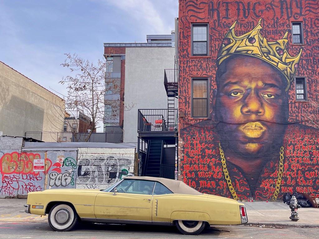 "Biggie Smalls aka Notorious B.I.G. ""King of NY"" mural in Bed-Stuy"