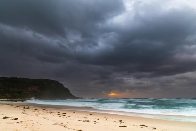 Rainy day moody seascape