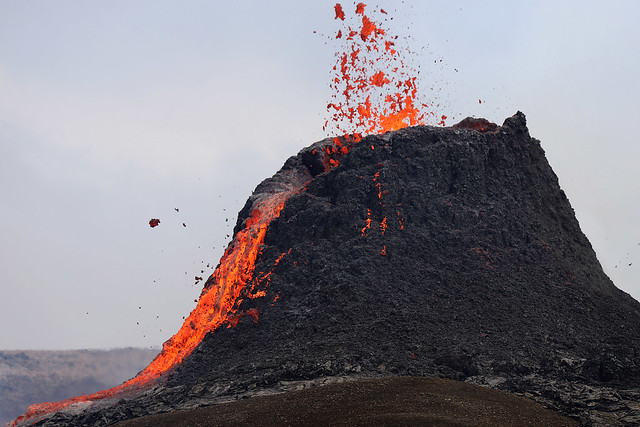 Spitting out lava, Iceland