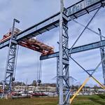 Boat crane frame at Preston Docks