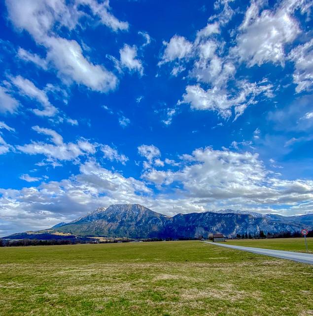 Bavarian landscape with Zahmer Kaiser mountain ranger near Oberaudorf in Bavaria, Germany
