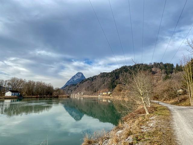 River Inn and Pendling mountain in Kiefersfelden in Bavaria, Germany