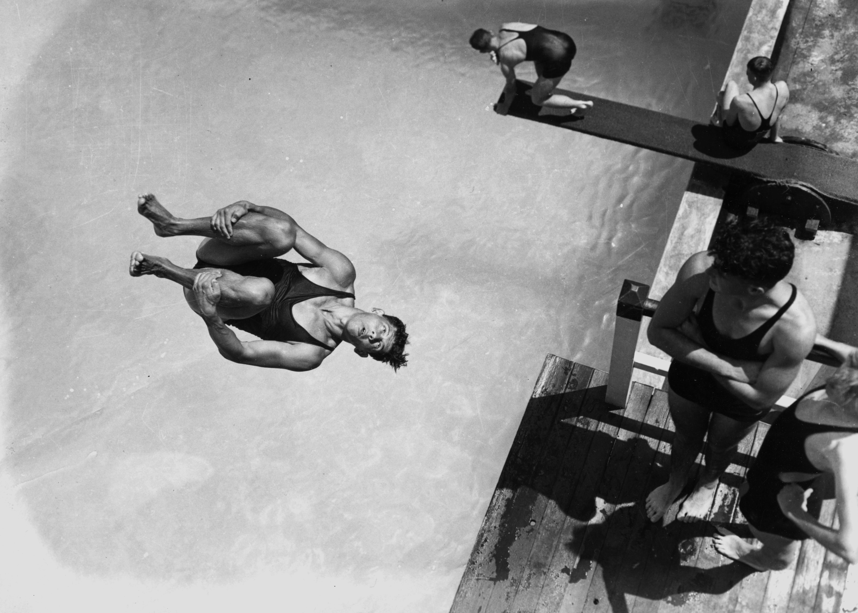 Diving at the Valley Baths, Brisbane, Queensland, 1938