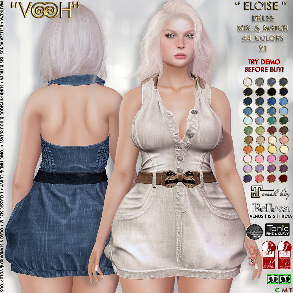""" VOOH "" ELOISE DRESS V1 MIX & MATCH 44 COLORS {PLAIN – DENIM}"