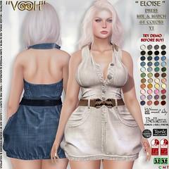 """"""" VOOH """" ELOISE DRESS V1 MIX & MATCH 44 COLORS {PLAIN - DENIM}"""
