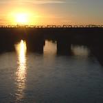 Golden shine over a bridge at Preston