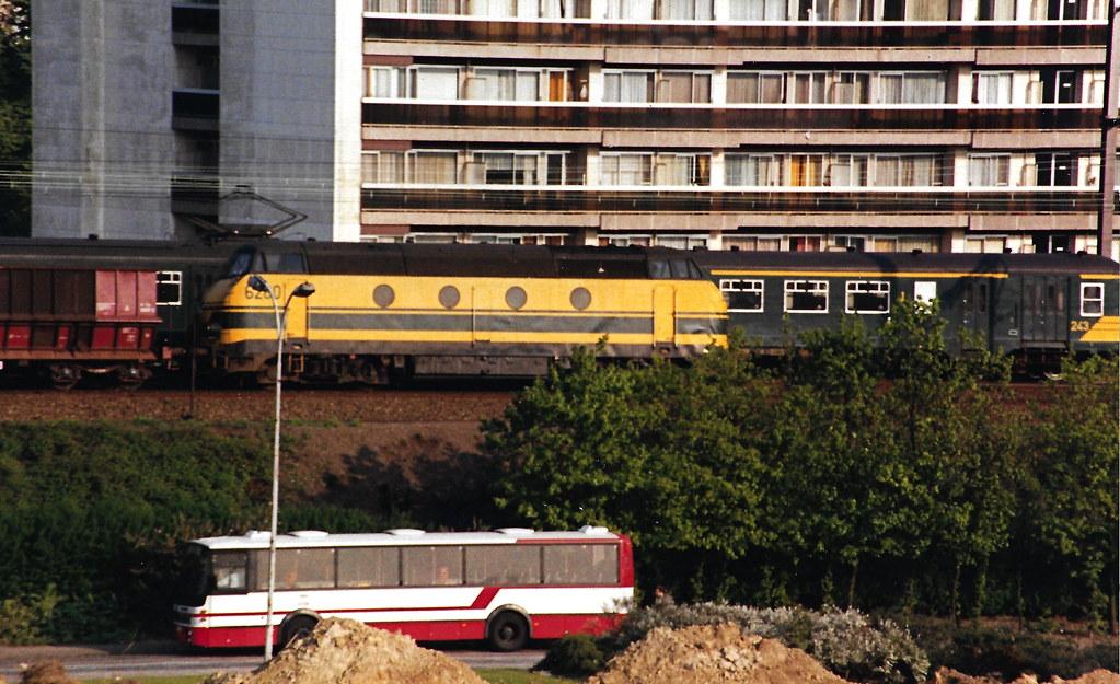 SNBF 6260 passes my hotel bedroom in Antwerp.  Undated but circa 1988.