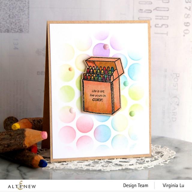 Altenew-Colorful Crayons-Bubble Wrap Stencil -001