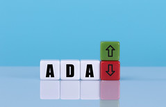 ADA text on cubes with up and down arrow