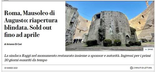 """ROMA ARCHEOLOGICA & RESTAURO ARCHITETTURA 2021. Mausoleo di Augusto: riapertura blindata. Sold out fino ad aprile. La Repubblica (01/03/2021). Foto / video: Dr. Danila Loginov, """"Project """"Rome in 3D""""; Facebook / You-Tube (06/03/2021)."""