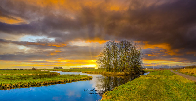 Sunset typical Dutch landscape