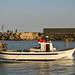 barca da pesca mentre entra nelo porto
