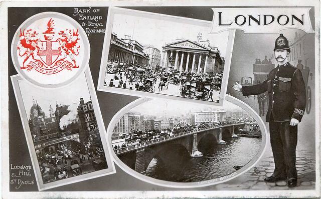 Multi-view London postcard (circa 1908)