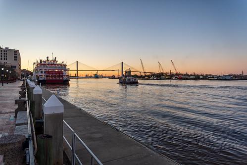 river bridge sunset ship water cranes boat savannah georgia