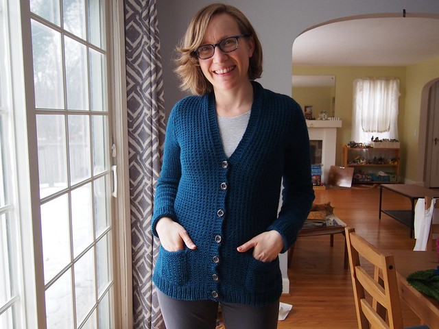 Farmhouse Cardigan, all buttoned up.
