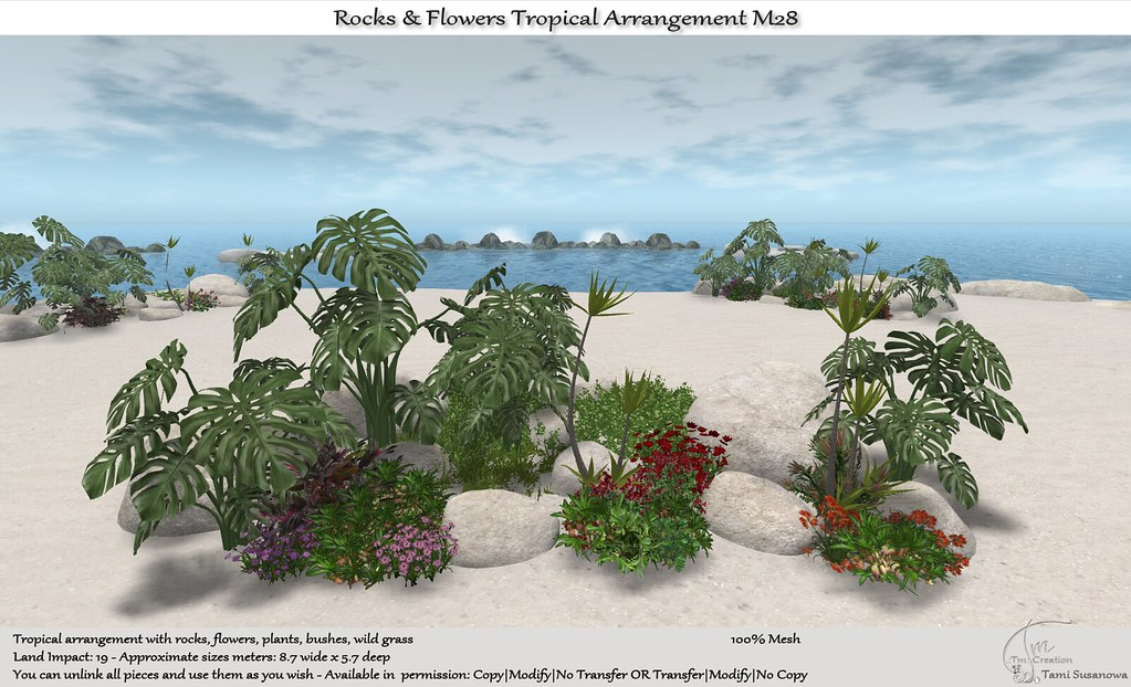 .:Tm:.Creation Tropical Flowers Rocks Arrangement M28