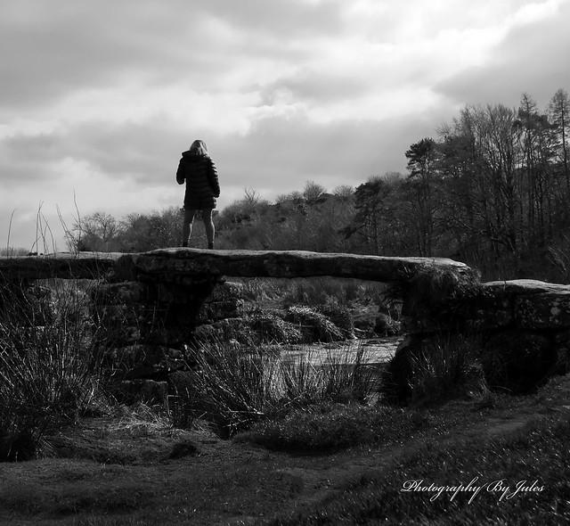 Lady on dartmoor bridge