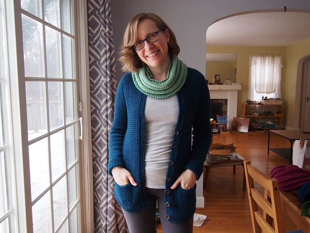 Farmhouse Cardigan, worn open.