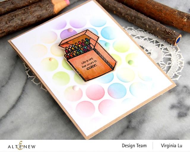 Altenew-Colorful Crayons-Bubble Wrap Stencil -002