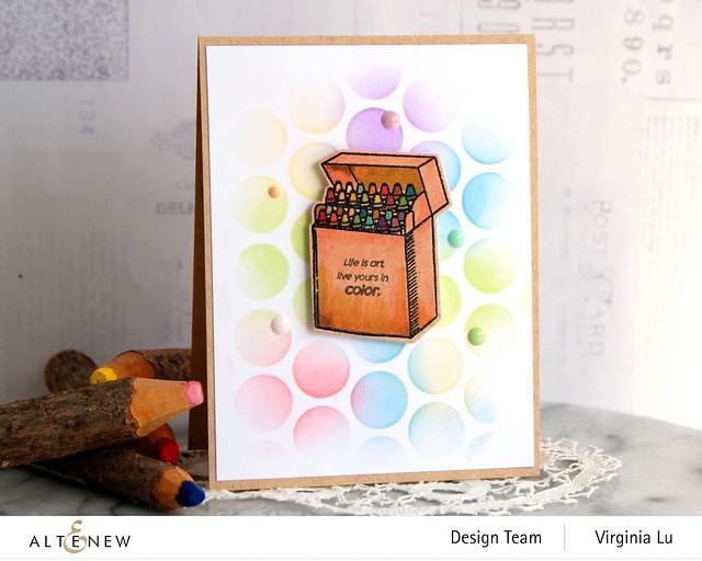 Altenew-Colorful Crayons-Bubble Wrap Stencil
