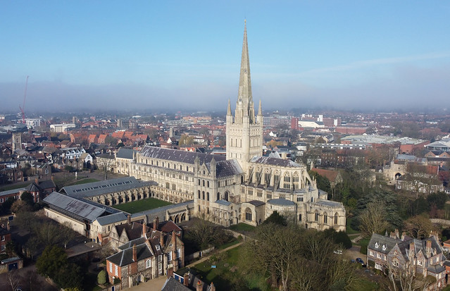 Norwich Cathedral aerial image - Norfolk UK
