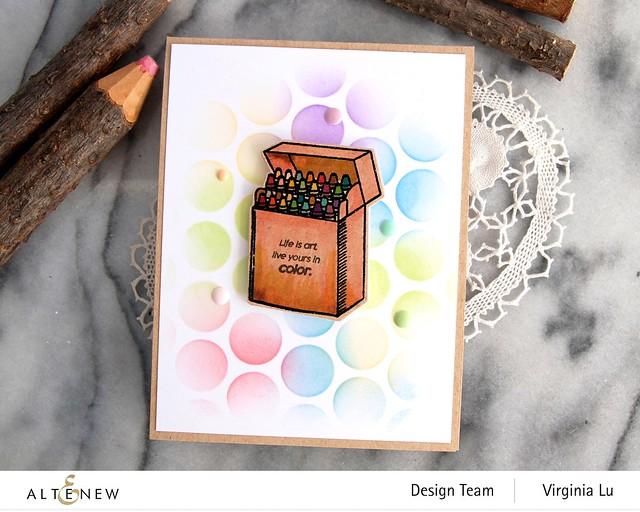 Altenew-Colorful Crayons-Bubble Wrap Stencil -003