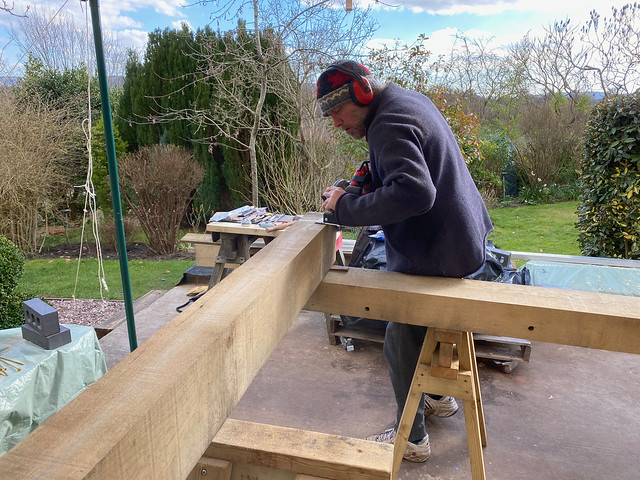 Ben works on front right wall plate joint