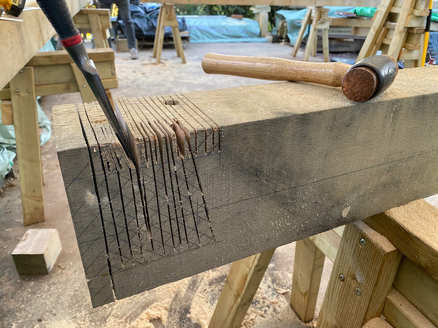Using multiple saw cuts to remove waste