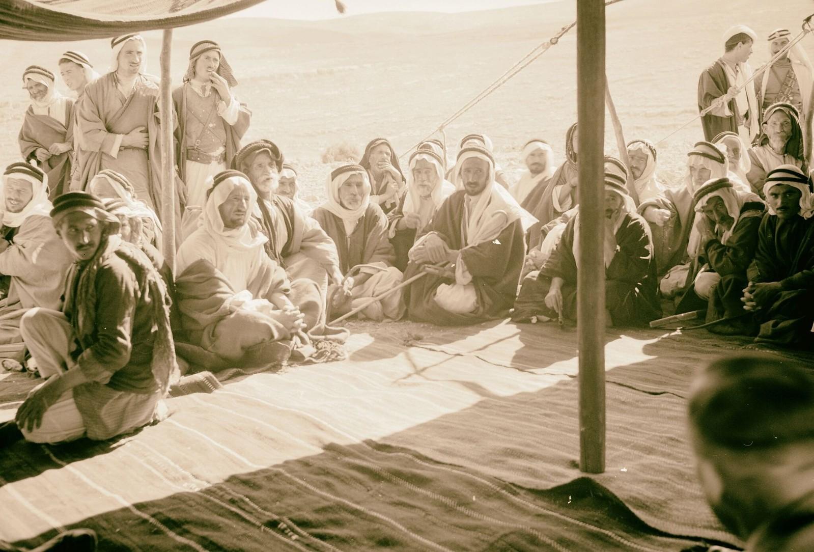 11. Открытие дополнительного источника воды в Айн-Хамде на юго-востоке Вифлеема. Группа бедуинов в палатке для приема гостей