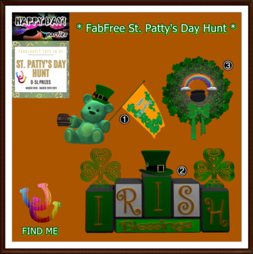 FabFree St. Patty's Day Hunt Key - Happy Day! Parties