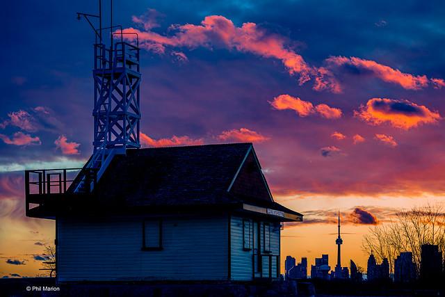 Sunset over the Leuty and Toronto skyline