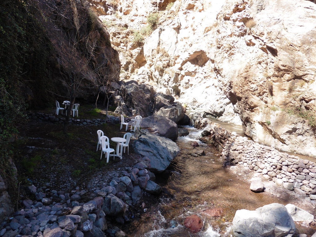 Tea stop by a waterfall in the Atlas Mountains, Morocco