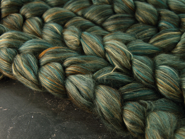 Indulgence British wool, baby Alpaca and Mulberry Silk blended top spinning fibre 100g in 'Verdigris'