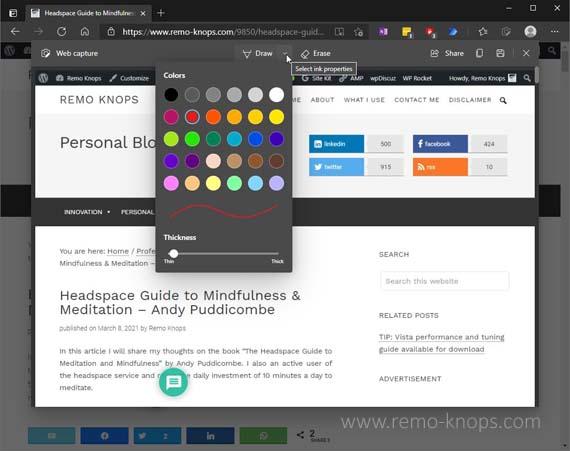 Web capture and annotations in Microsoft Edge Chromium 445
